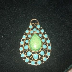 Jewelry - Gold and Blue Green Pendant